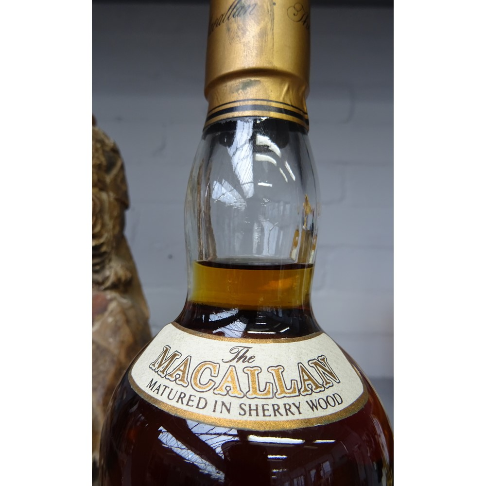 One bottle of The Macallan 12 year old single Highlands malt Scotch whisky, specially bottled for... Image