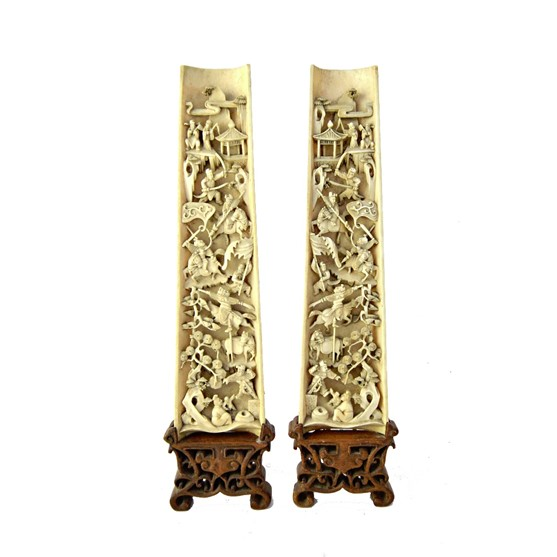 A pair of Chinese ivory wrist rests,... Image