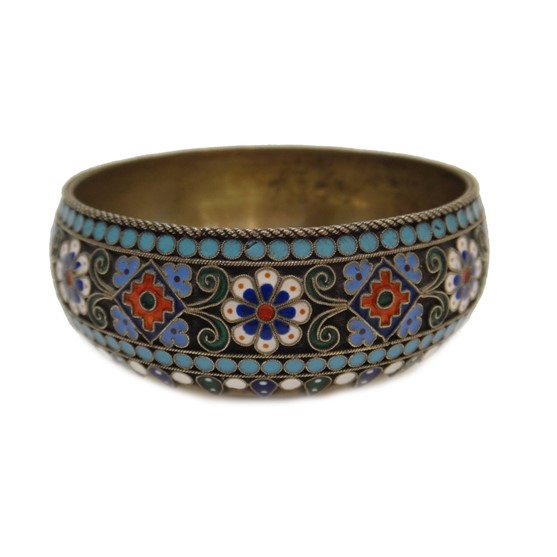 A Russian cloisonne enamelled circular... Image