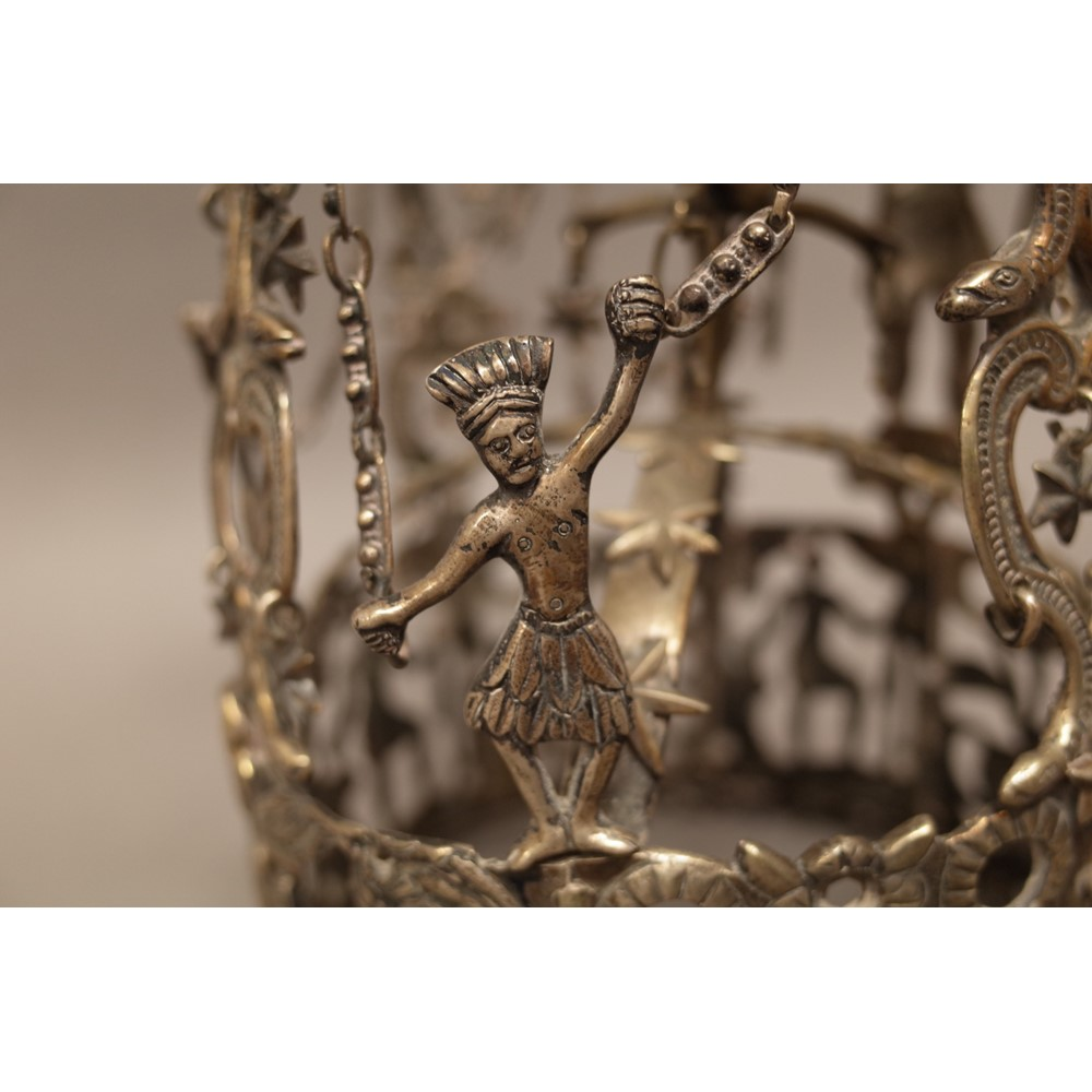 An Inca white metal sun crown, possibly... Image