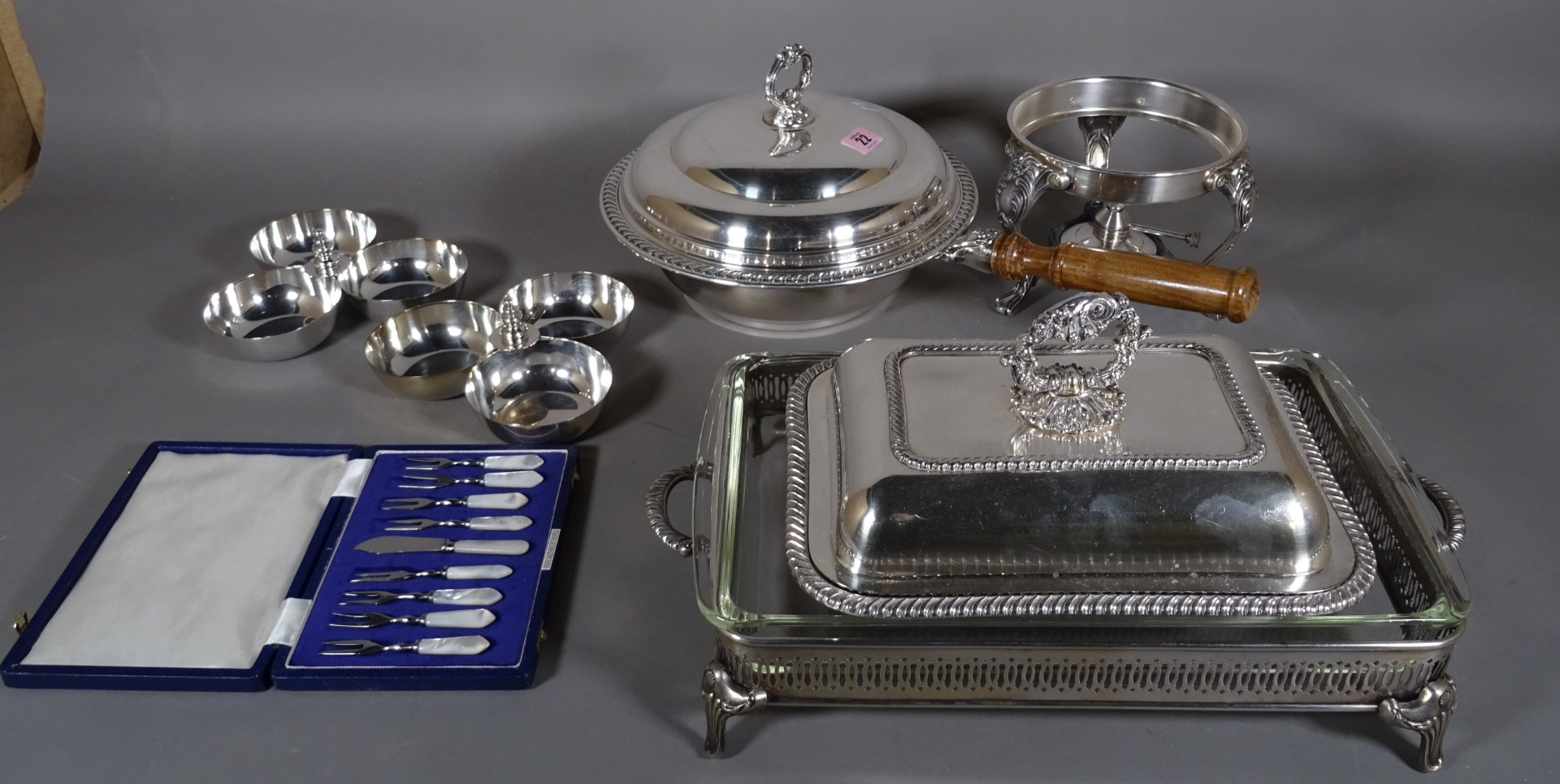A silver plated warming pan and cover, a... Image