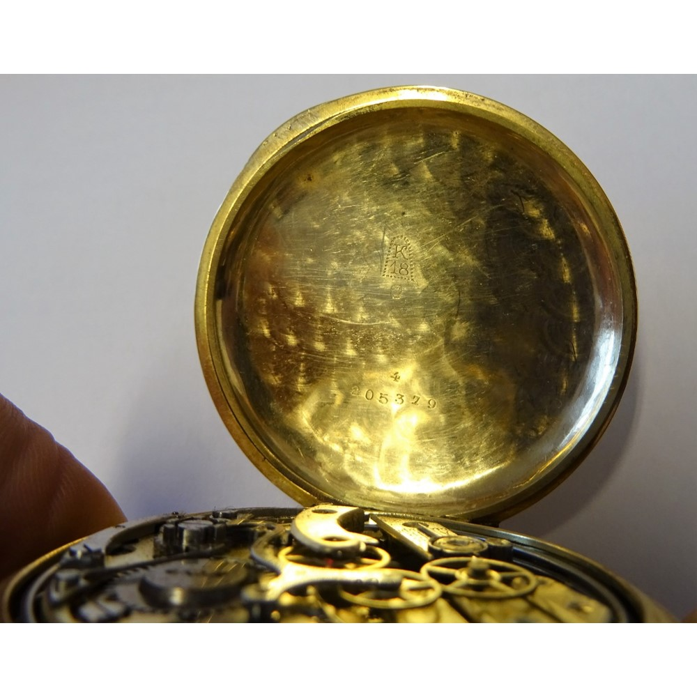A gold cased, keyless wind, centre stop... Image