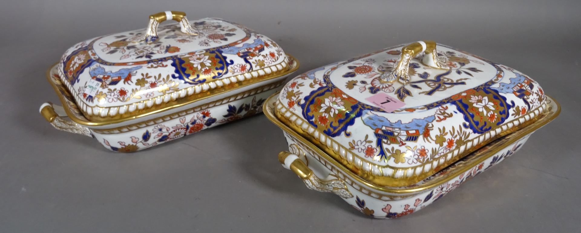 Spode; two Imari patterned twin handled... Image