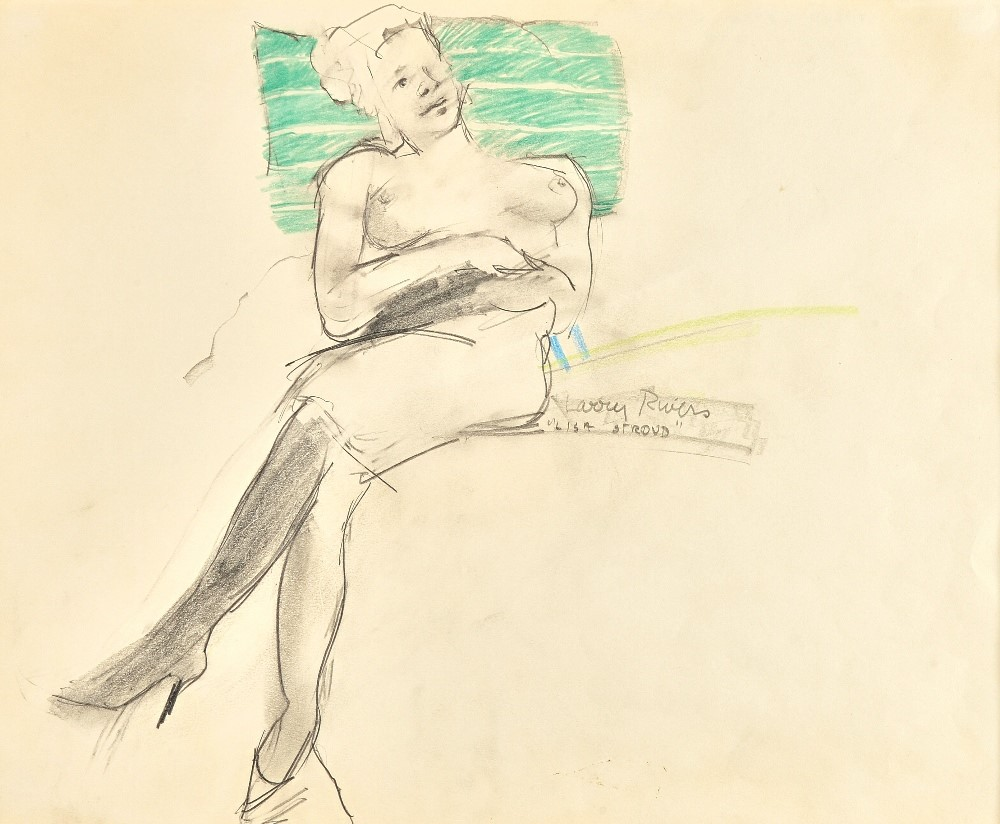 Larry Rivers (1923-2002), Lisa Stroud, pencil and coloured crayon, signed and inscribed, 34cm x... Image