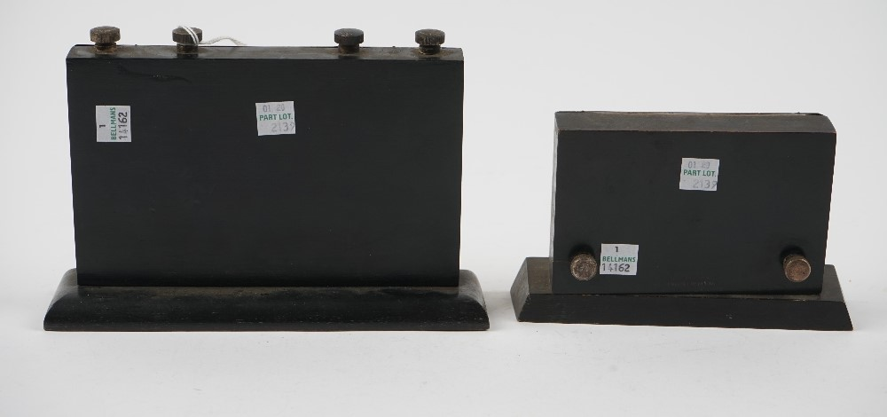 A silver mounted ebonised wooden cased adjustable desk calendar, Birmingham 1939 and another... Image