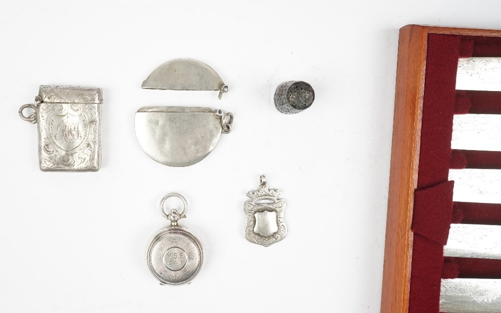Silver, comprising; a set of six Victorian teaspoons and a matching pair of sugar tongs, London... Image