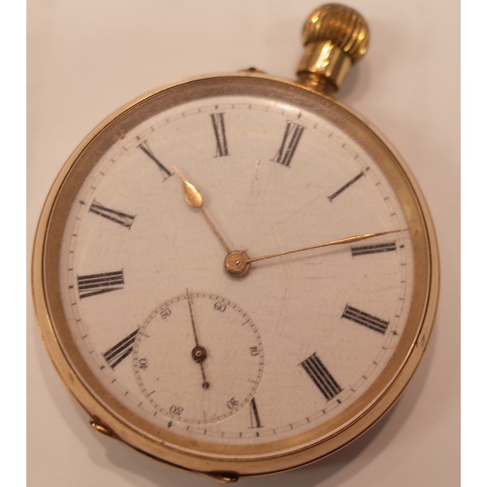 A gold cased, keyless wind, openfaced pocket watch, with an unsigned jewelled lever movement,... Image