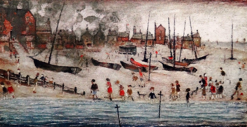 Laurence Stephen Lowry (1887-1976), The Beach, colour print, signed in pencil, 29cm x 52cm. ARR Image