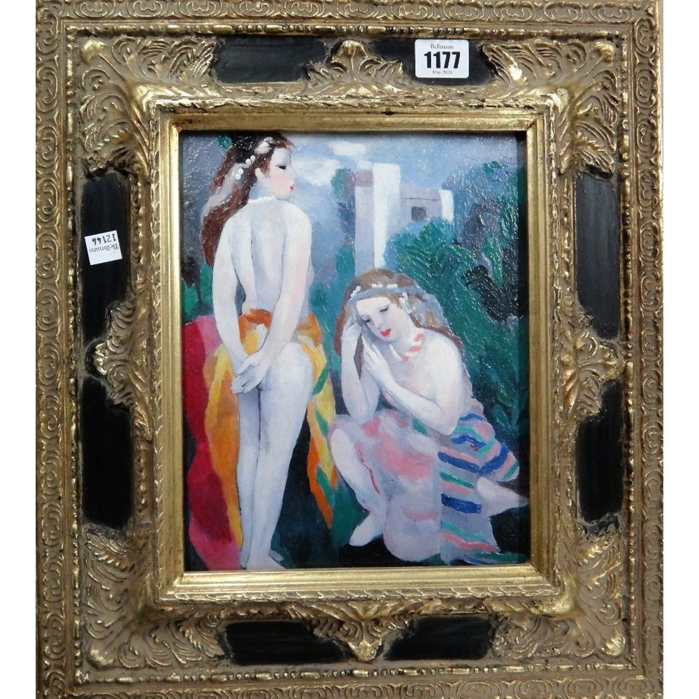 After Marie Laurencin, Jeunes Filles, over painted print, inscribed on reverse, 24cm x 19cm. Image
