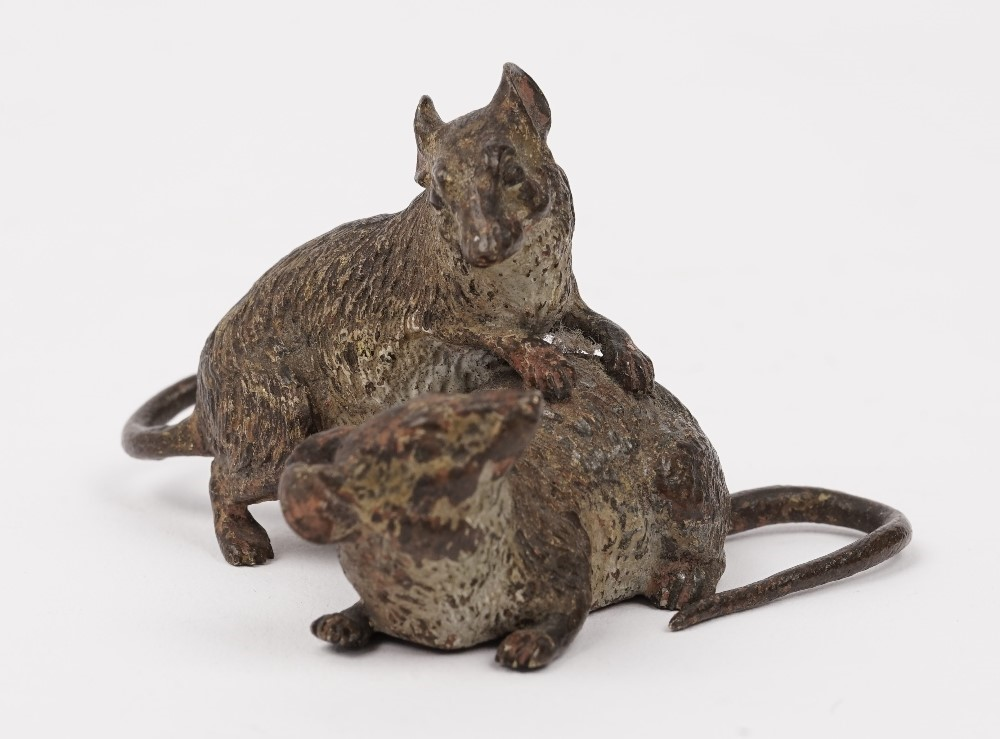 An Austrian cold painted bronze animalier group, early 20th century, depicting two rats,... Image