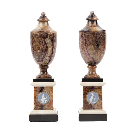 A pair of George III Blue john Derbyshire spa, marble and jasperware-mounted urns Image