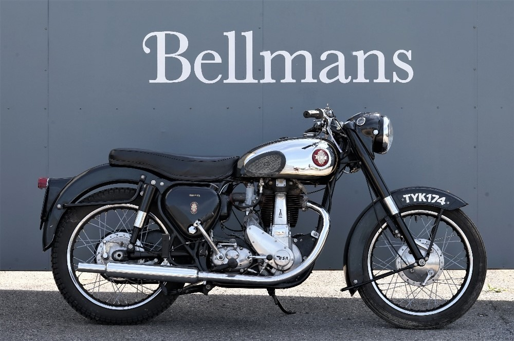 A 1957 BSA B31 350cc  Black Star motorcycle, Registration  number EU 234 (269cc) with V5... Image