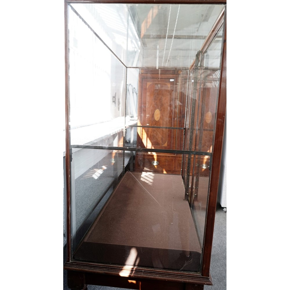 A pair of large 19th century mahogany rectangular museum display cases, on turned supports, 149cm... Image