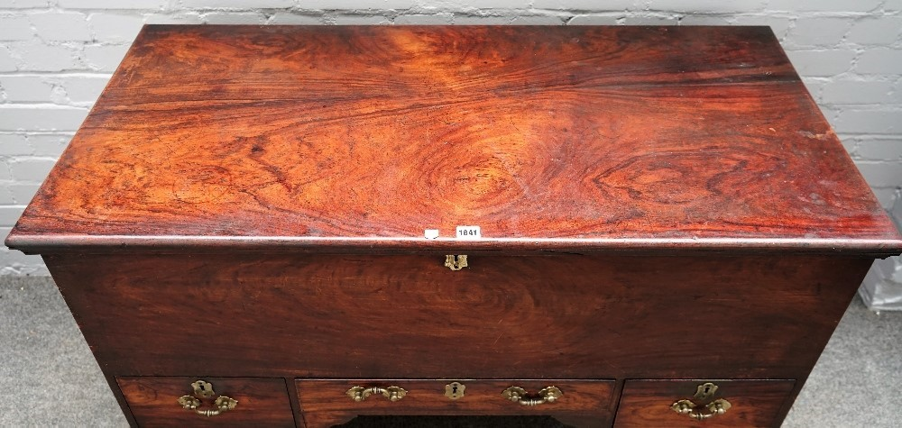 A 19th century Anglo-Indian hardwood mule chest, the lift top over three frieze drawers on square... Image