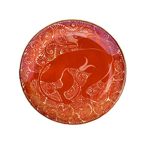 A good ruby lustre earthenware dish... Image