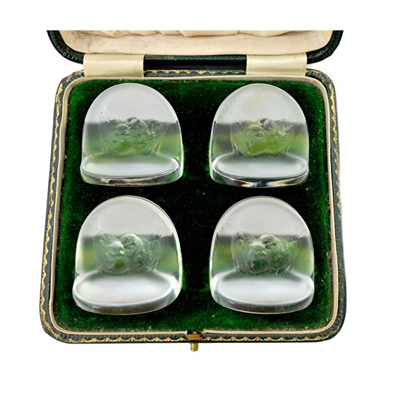 A set of four Lalique 'Pinsons' clear... Image