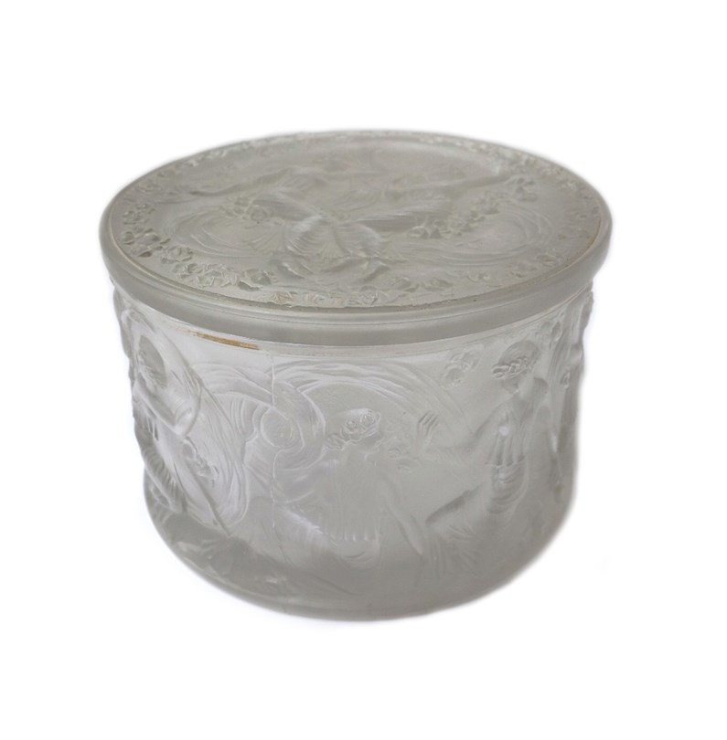A Lalique frosted glass circular box and... Image