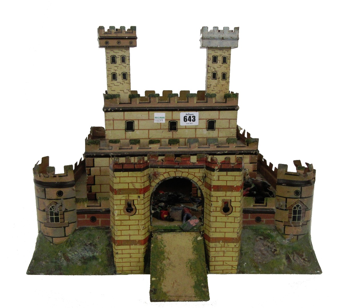 A early 20th century tinplate castle and... Image