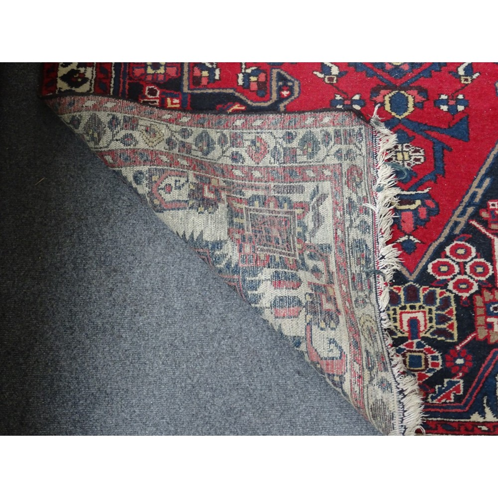 A Bakhtiari rug, the black field with a... Image