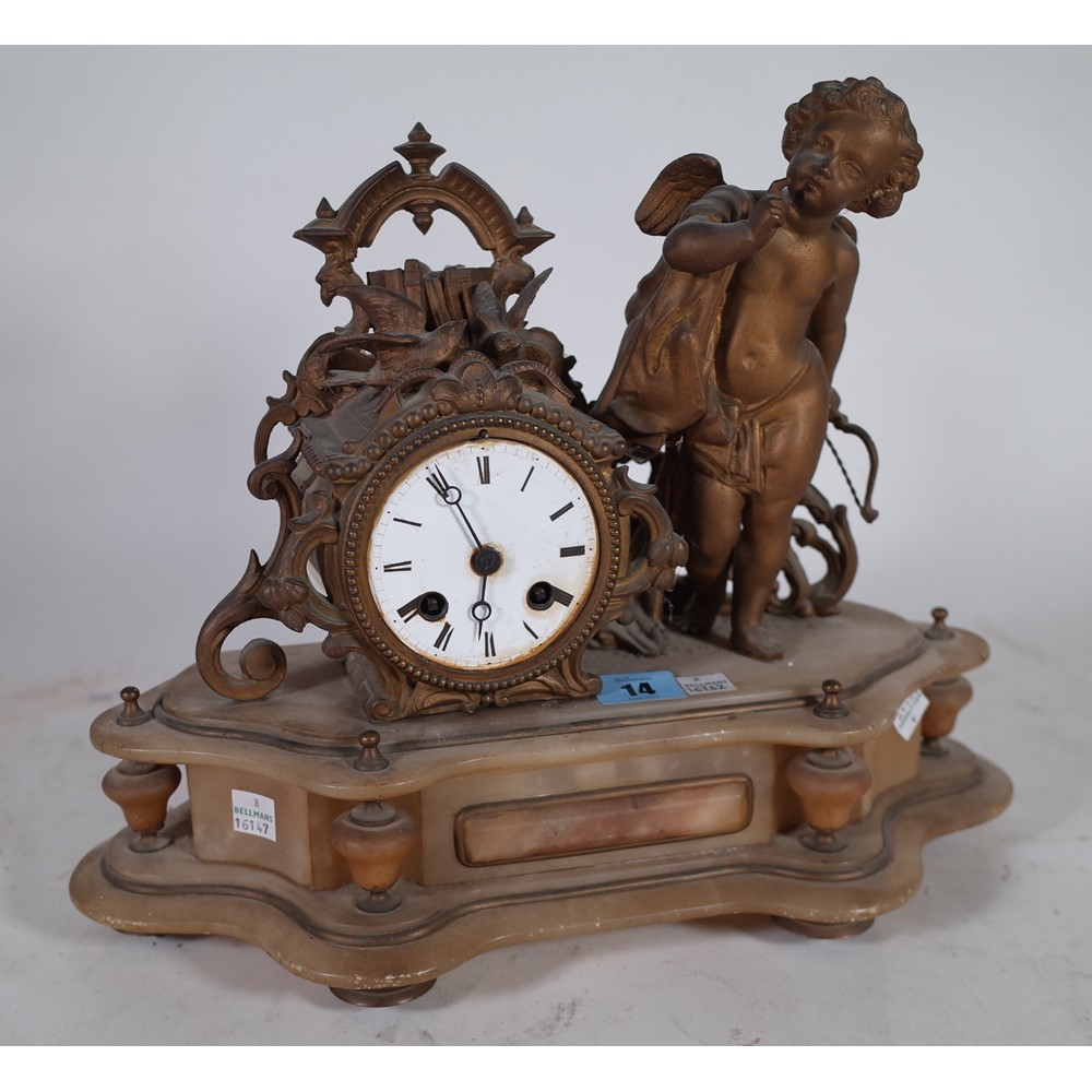 An early 20th century French alabaster and gilt mantel clock 38cm wide...