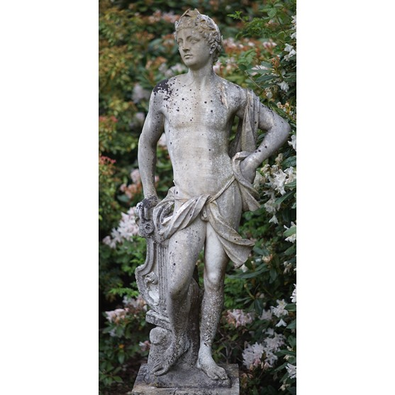 A marble figure of Apollo after The Antique, 20th century, on square base, 140cms high. Image