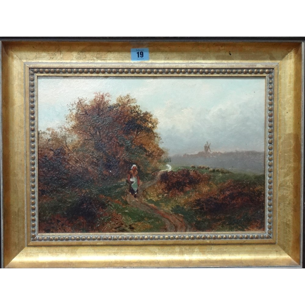 English School (late 19th century), A peasant woman on a country path, oil...