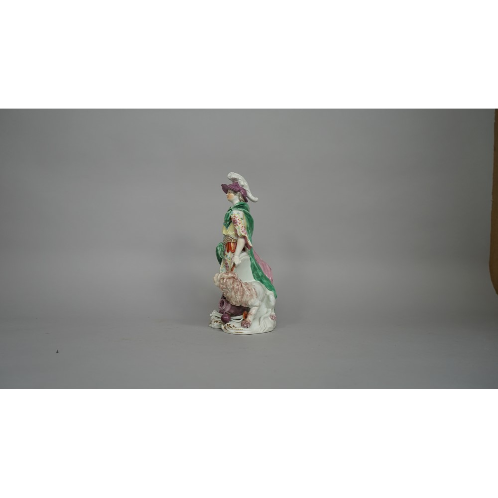 A large Derby porcelain figure of Britannia, circa 1765, modelled standing in a plumed helmet, a... Image