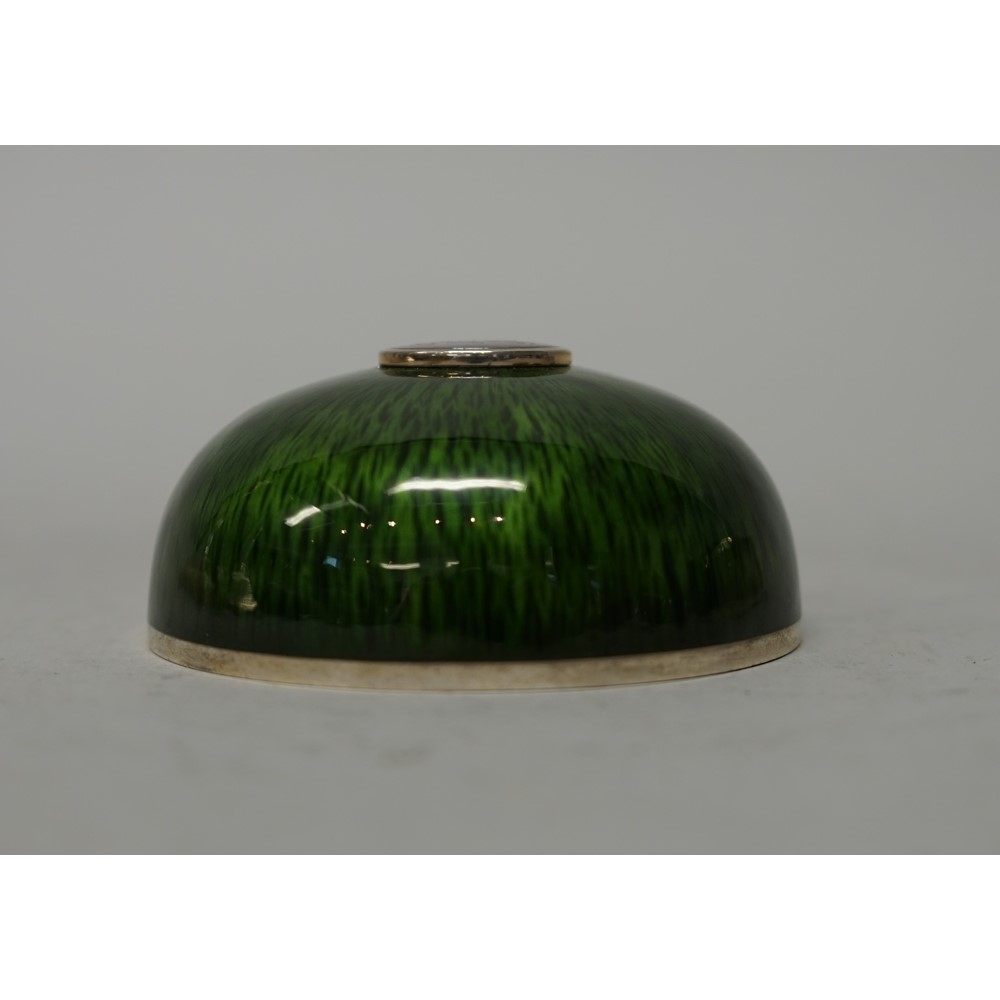 Gerald Benney; a silver and enamelled circular jewellery box and cover, London 1994, striated... Image