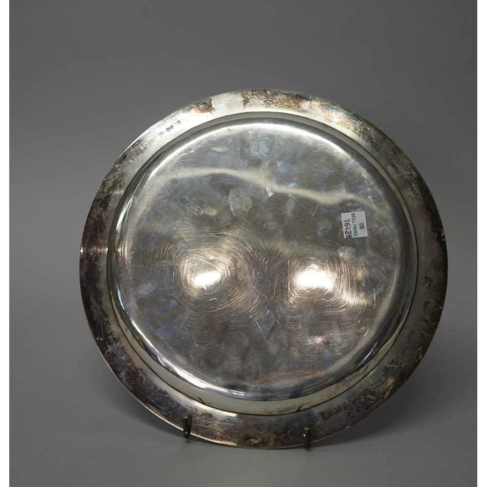 A Victorian silver and mixed-metal circular dish, the border with applied foliate and floral... Image
