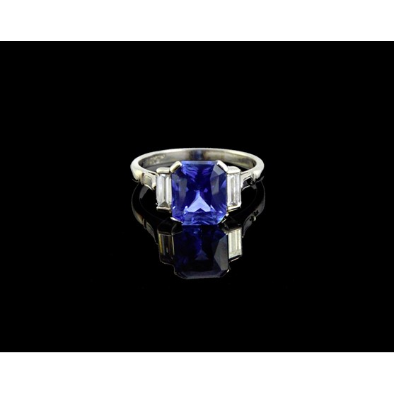A platinum, sapphire and diamond set... Image