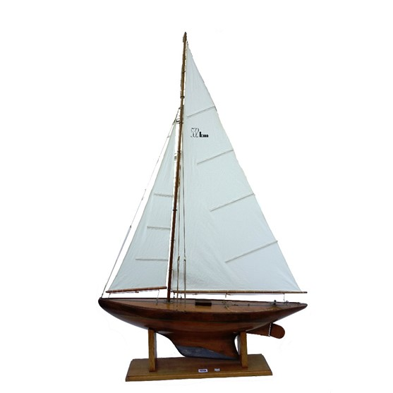 A wooden scale model pond yacht,... Image