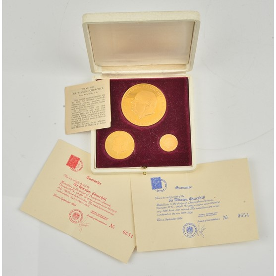 A set of three 18ct gold proof medallions commemorating Sir Winston Churchill, combined weight... Image