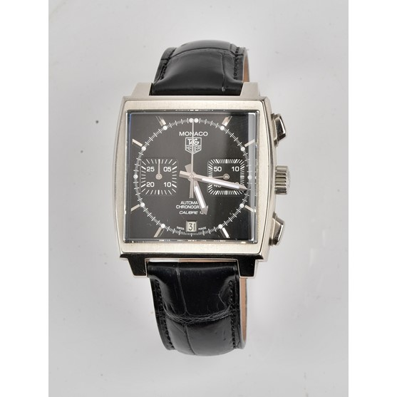 A Tag Hauer Monaco Automatic Chronograph Calibre 12, steel cased gentleman's wristwatch, the... Image