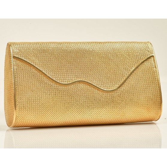 A lady's gold clutch bag of interwoven curved rectangular form, the hinged flap fitted with a... Image