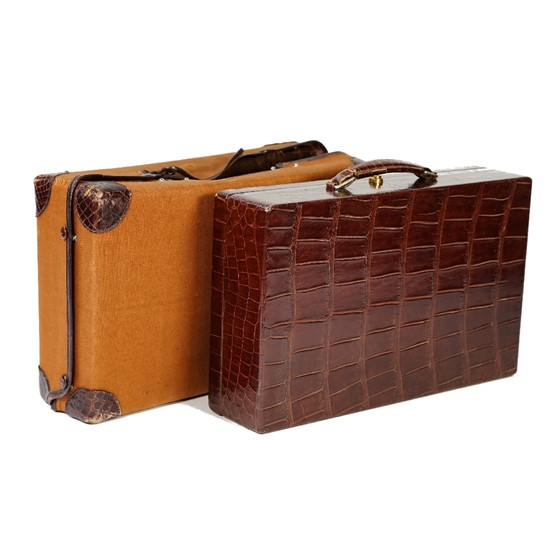 Hermes, Paris, a crocodile skin travelling jewellery/vanity case, the fitted interior with a... Image