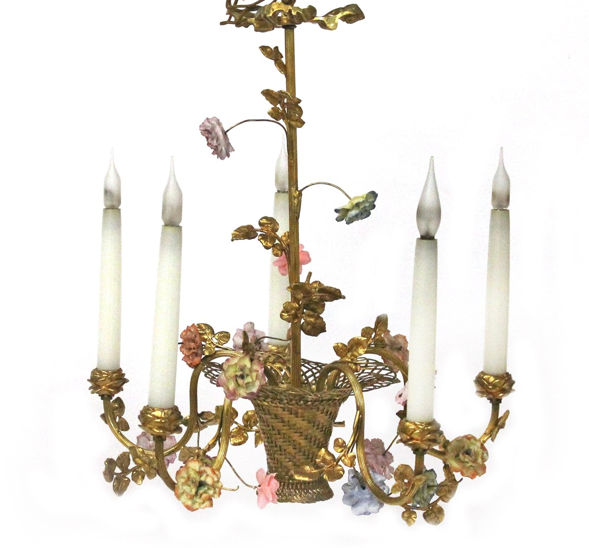 A gilt bronze five light chandelier, the... Image