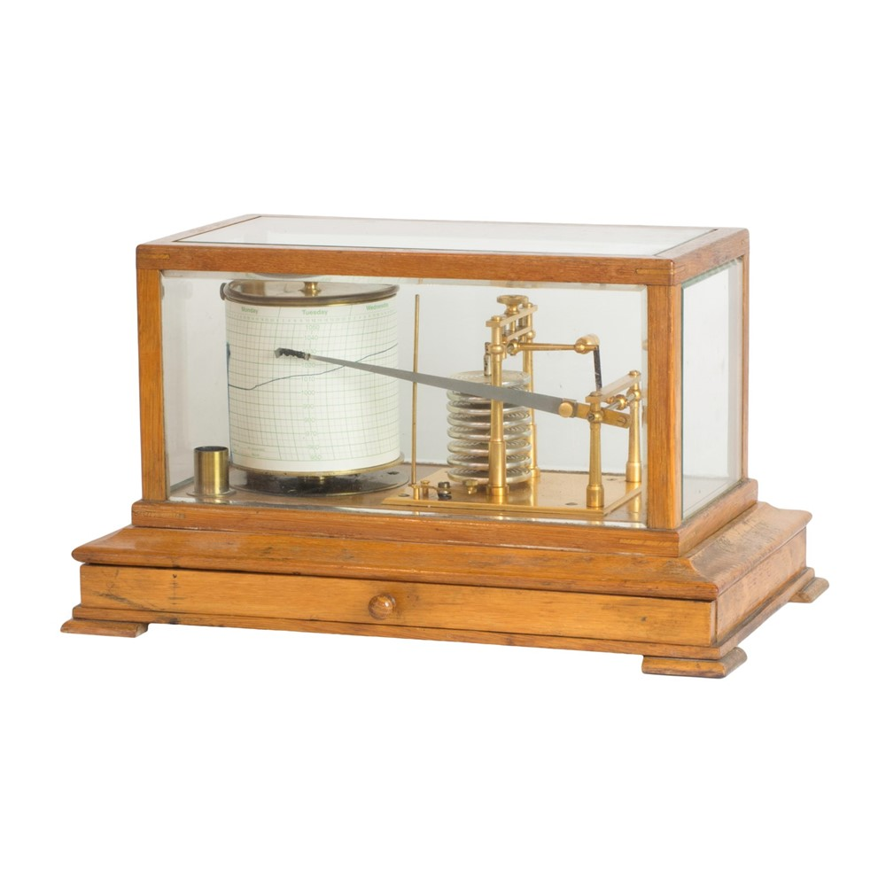 An oak cased barograph, early 20th... Image