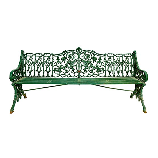 A Coalbrookdale style green painted... Image