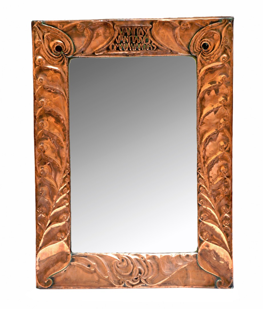 Two Arts and Crafts copper mirrors,... Image