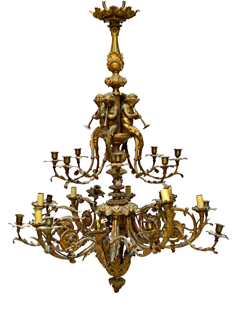 A French gilt bronze twenty four branch... Image