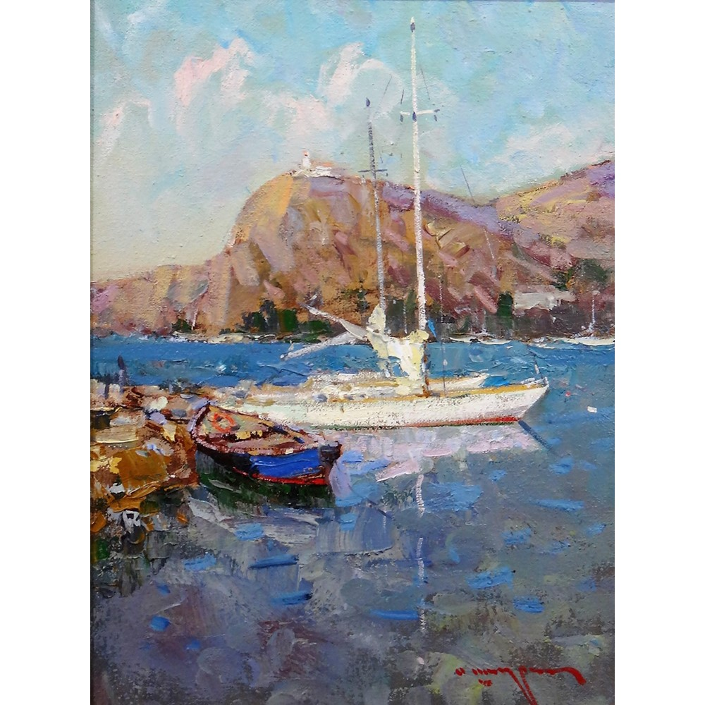 Russian School (21st century), Boats off the coast, oil on canvas, indistinctly signed, inscribed... Image