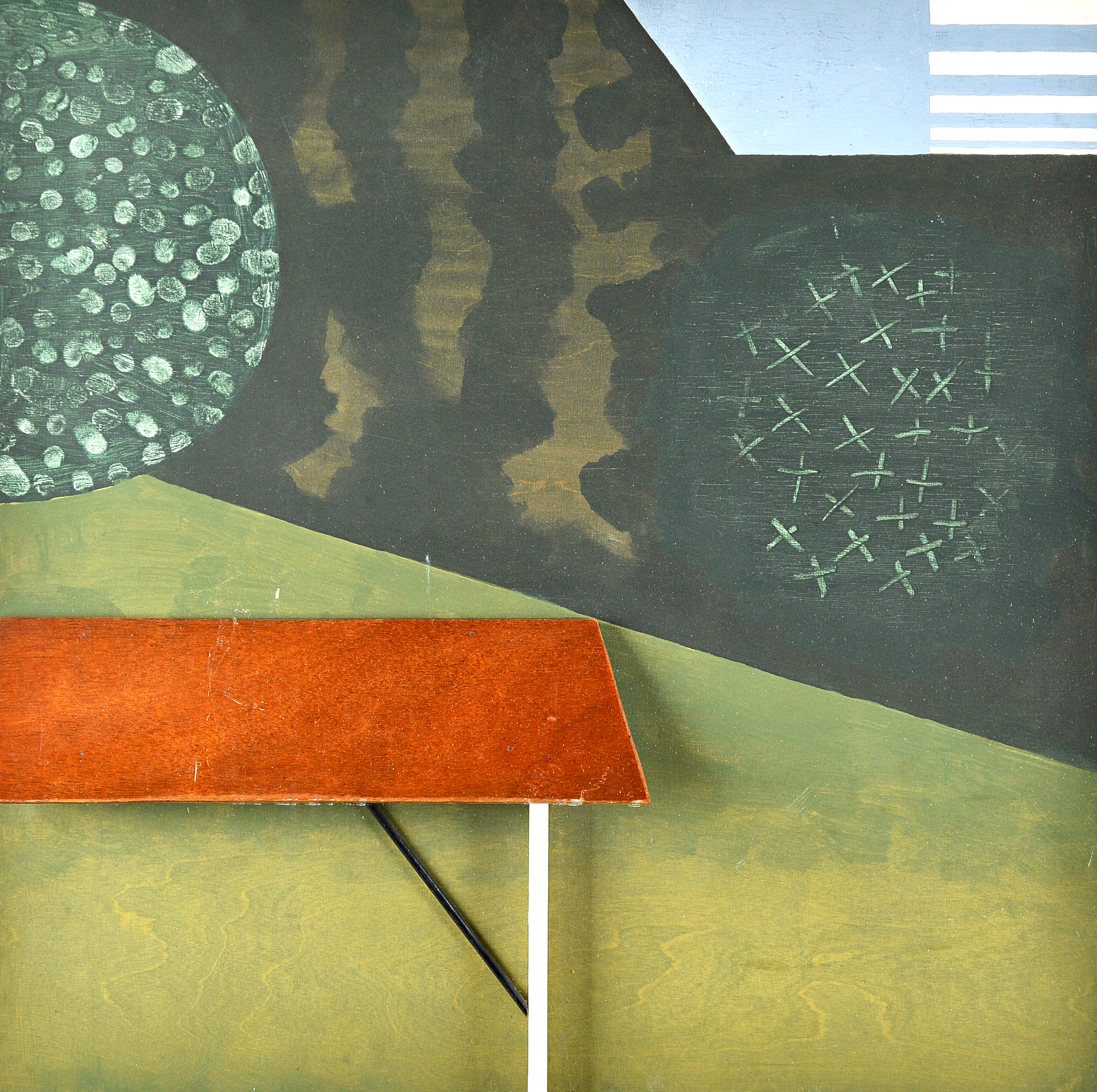 Kenneth Rowntree A.R.W.S. (British, 1915-1997)Table in a Dark Garden , oil and wood construction... Image