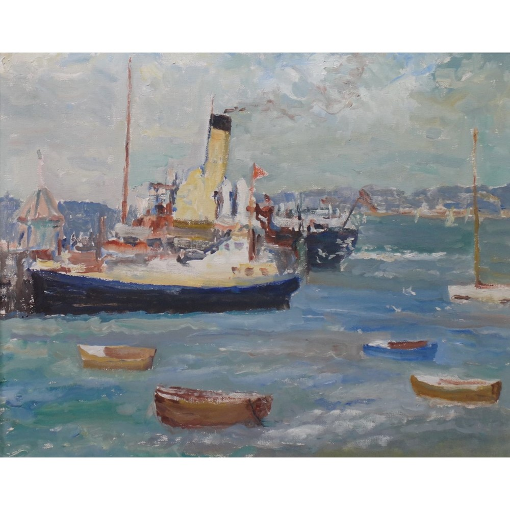 Ronald Ossory Dunlop (1894-1973), Harbour scene with shipping, oil on canvas, 40cm x... Image
