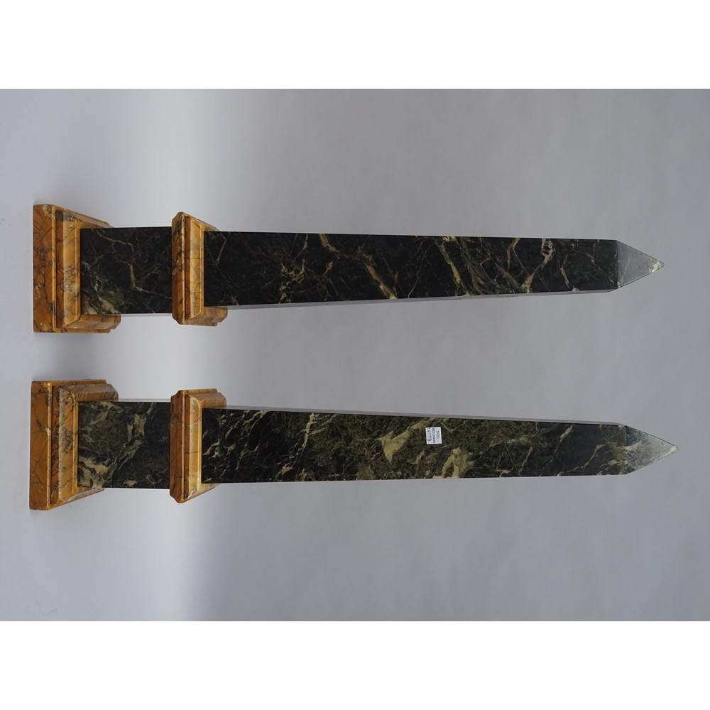 A large pair of Italian marble obelisks, 19th century, dark green vein with sienna plinth and... Image