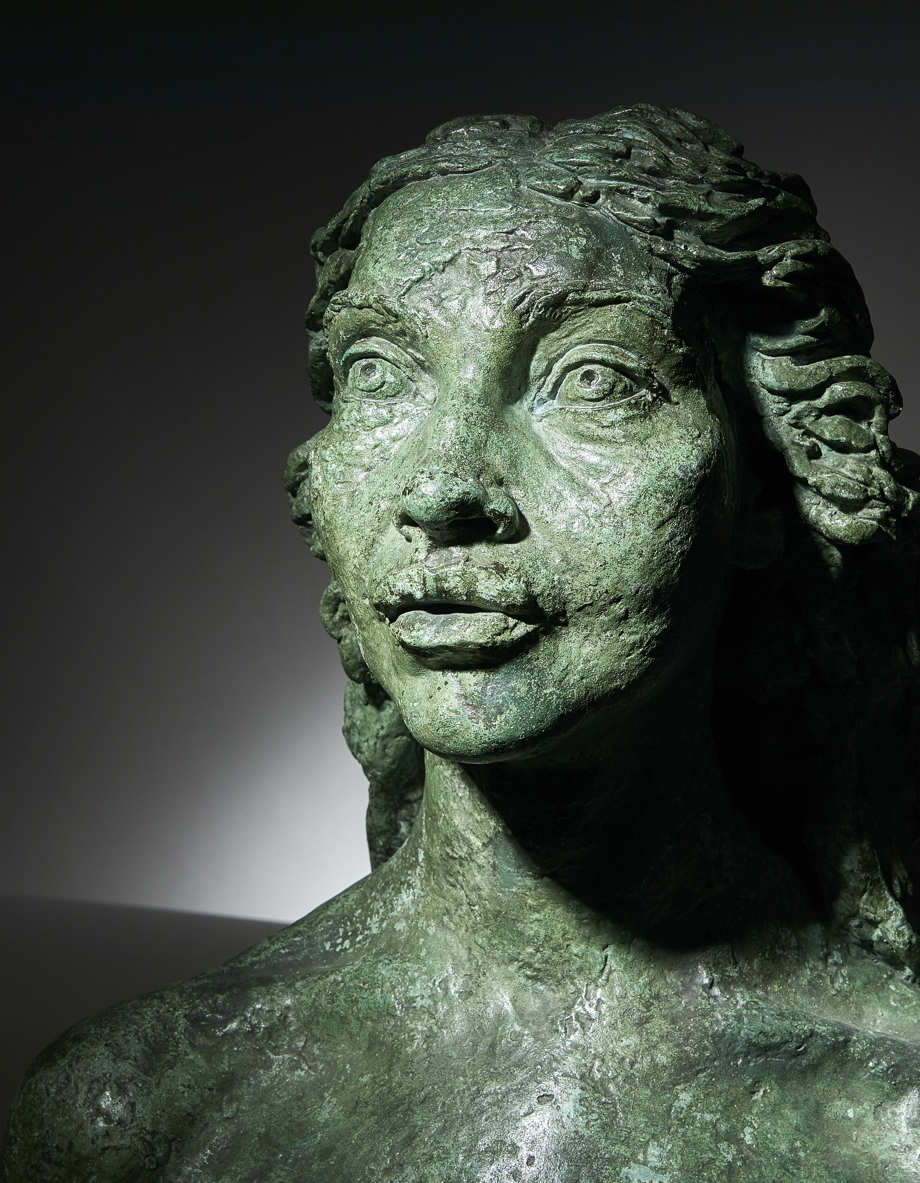Jacob Epstein 1881-1959 first portrait of Kathleen, verdigris patinated bronze bust, C.1921,... Image