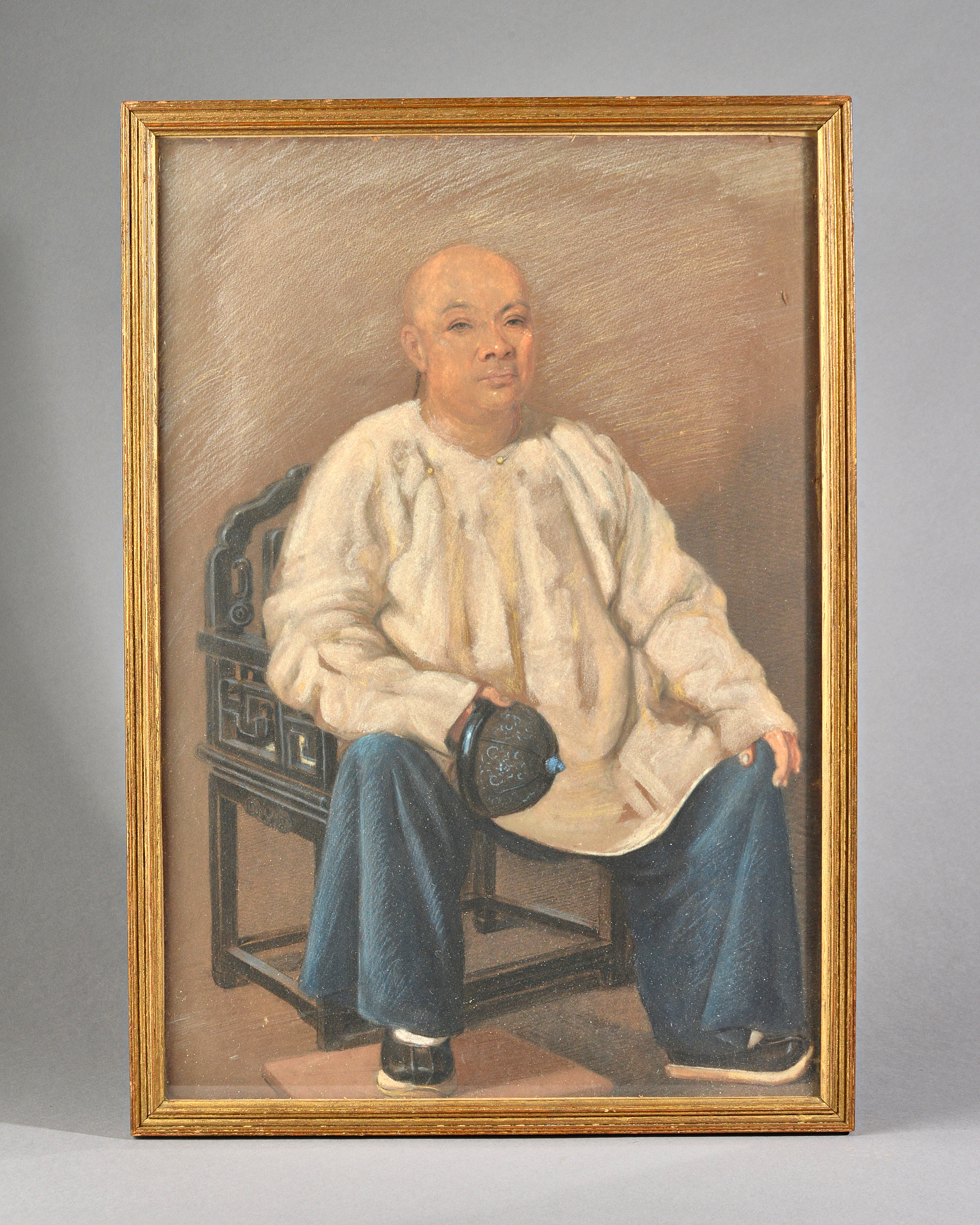 Percy Carpenter (1820-1895), British. Portrait of a seated merchant, pastel on paper mounted on... Image