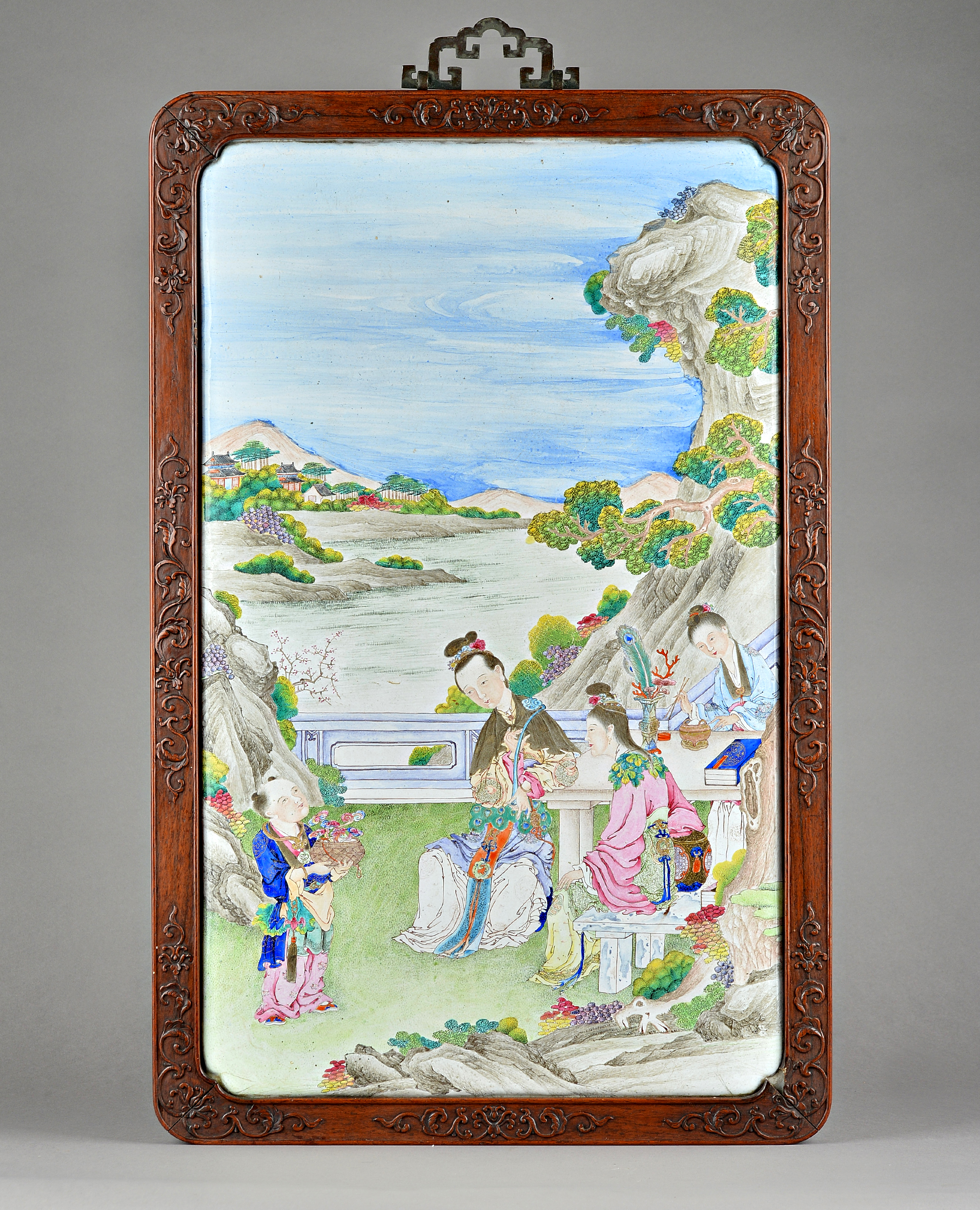 An unusually large Canton enamel rectangular plaque, 18th century, finely painted with three... Image