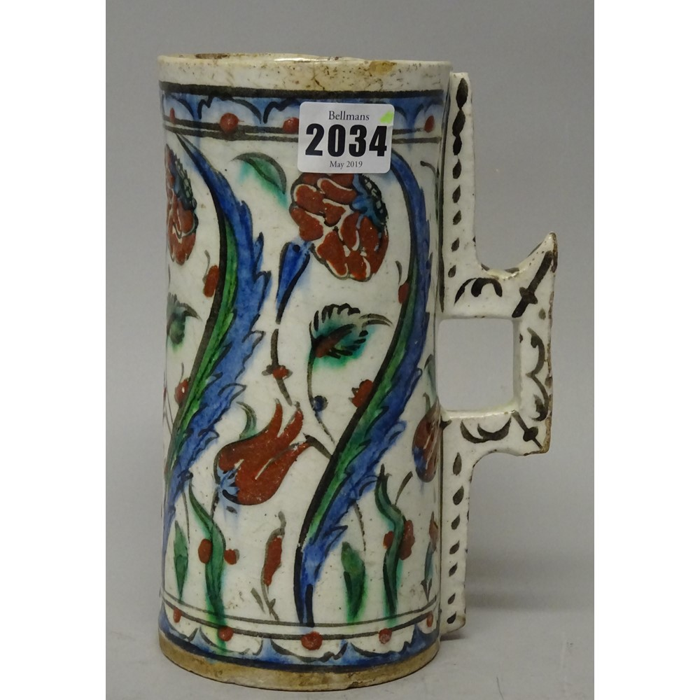 An Iznik pottery cylindrical tankard, Ottoman Anatolia, first half 17th century, the sides... Image