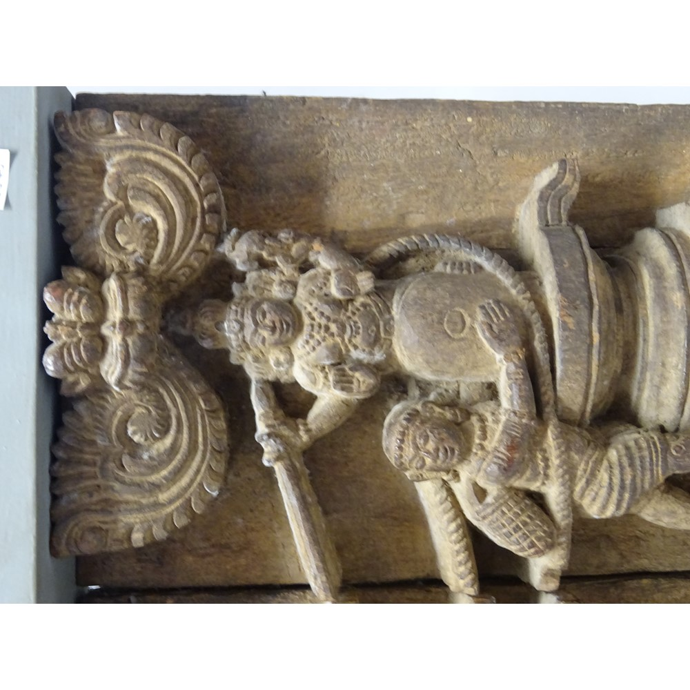 Two wood panels from a frieze, Tamil Nadu, South India, 19th century, carved in relief depicting... Image