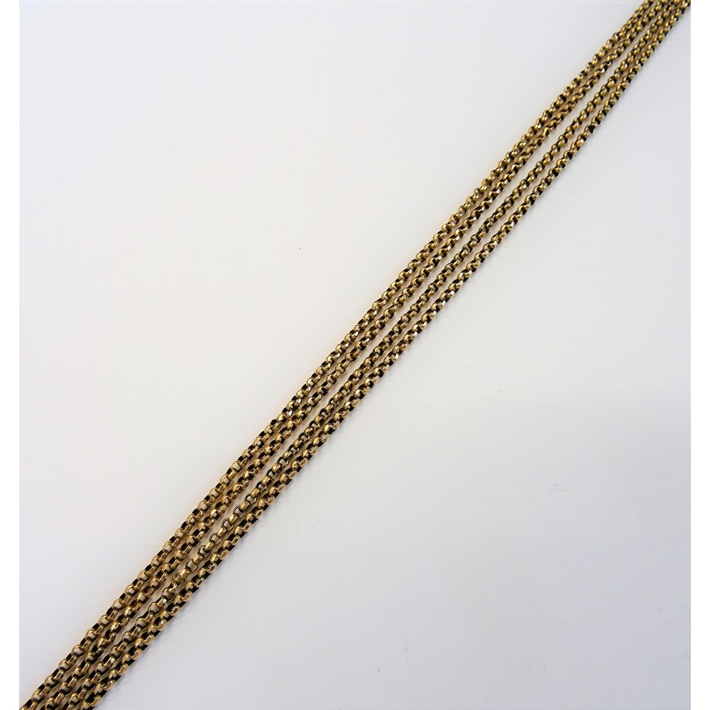 A gold faceted circular link long guard chain, detailed 9 CT, length 151cm, weight 18.8 gms. Image